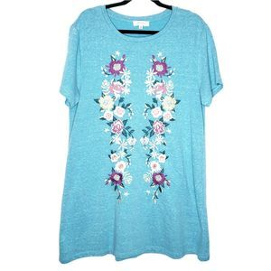 Umgee plus blue Floral Embroidered tunic dress.